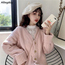 Cropped Cardigan Sweaters Women Lovely Elegant Simple Solid Popular Korean Chic Ladies Knitwear Trendy Daily Girls Fall Clothing