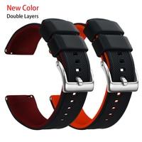 Nuevo diseño de silicona suave banda de reloj 20mm, 22mm de liberación rápida relojes de goma correa para mujeres de los hombres a prueba de agua de correas