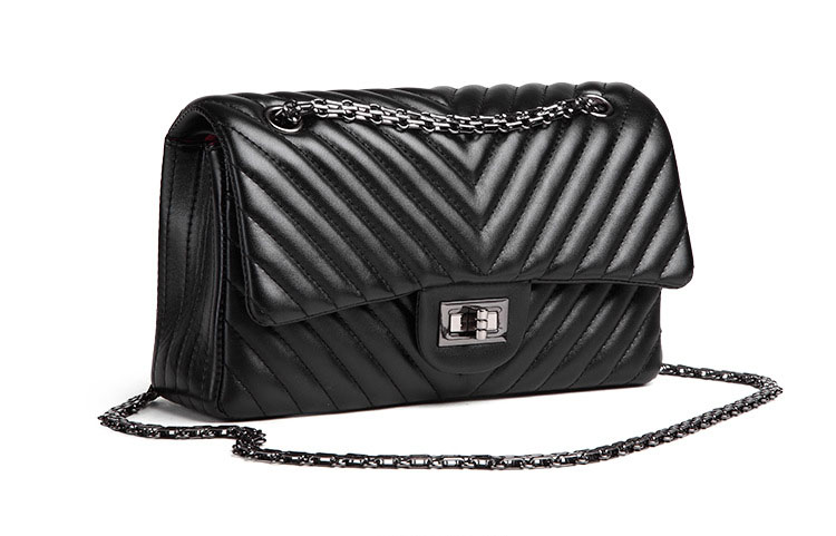 2019 Fashion Quilted Leather Chain Handbag Womens Luxury Shoulder Bags Branded Famous Black Double Flap Crossbody Bag for Women (35)