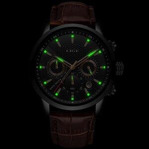 Image 3 - 2020新作メンズウォッチligeトップブランドの高級レザーカジュアルクォーツ腕時計メンズスポーツ防水時計黒腕時計レロジオmasculino