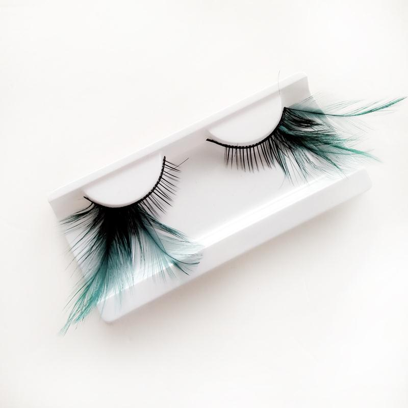 Feather False Eyelashes Eye Lashes Green Natural Handmade Reusable Extensional <font><b>Sexy</b></font> Funny <font><b>Ladies</b></font> Styles- Deluxe Party Stage image