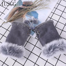 Rabbit Fur Suede Half Finger Gloves Fashion Leather Fingerless Mittens for Women Hands Warmer Cute Wrist