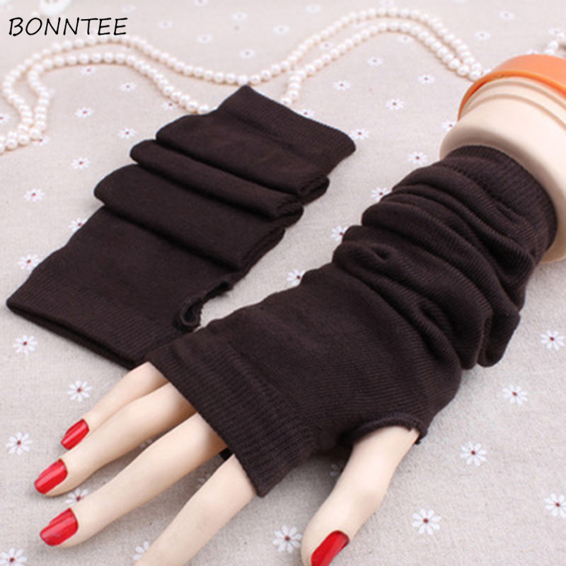 Arm Warmers Women Winter Knitting Elegant Sweet Ladies Fingerless All-match Solid Korean Style High Quality Daily Fashionable