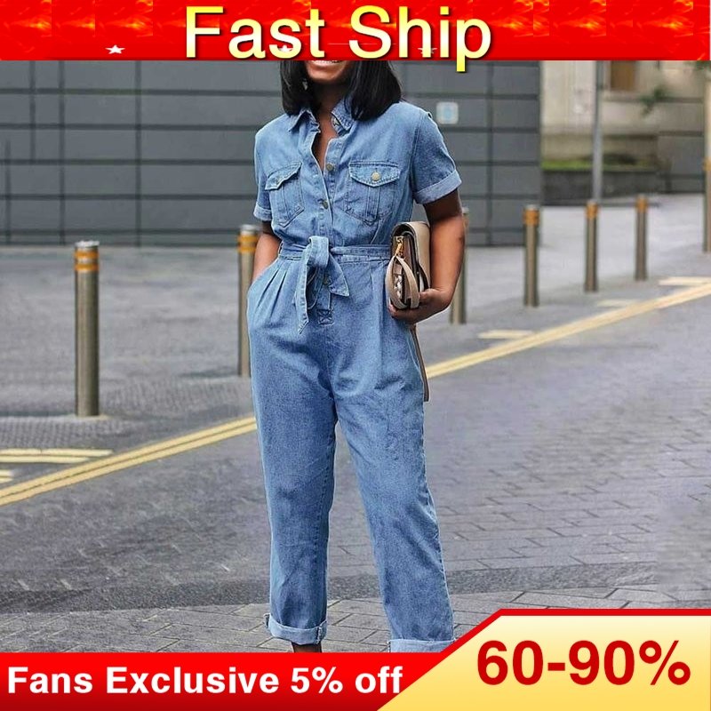 African Fashion Casual Plus Size 3XL Denim Jumpsuit Women Full Length Plain Lace-Up Straight High Waist Jumpsuit Button Pocket