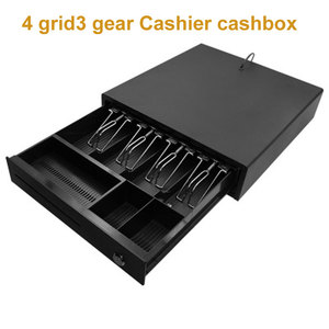 Four grid Third section cash drawer Supermarket cash register box for 58mm or 80mm thermal printers