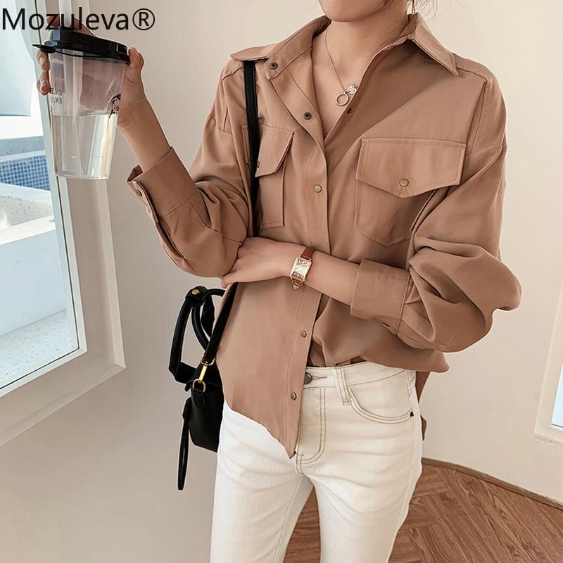 Mozuleva Office Ladies Blouses Shirts Single-breasted Lapel Female Blouses Tops Plus Size 2020 Women White Shirts Femme Blusas