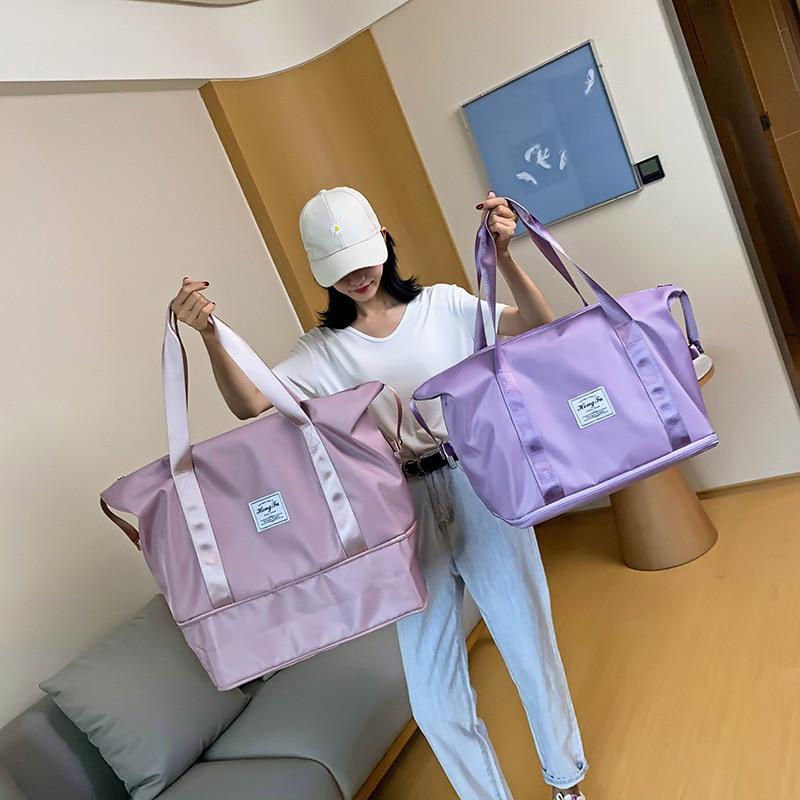 Вместительные дамские деловые сумки, сумки на колесиках, водонепроницаемые нейлоновые сумки, отделение для сухого и мокрого переносные дор...