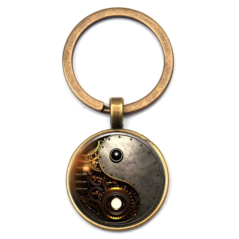 Charm steampunk yin and yang photo Taiji keychain Tibetan silver retro cabochon glass pendant key chain men and women best gift in Key Chains from Jewelry Accessories