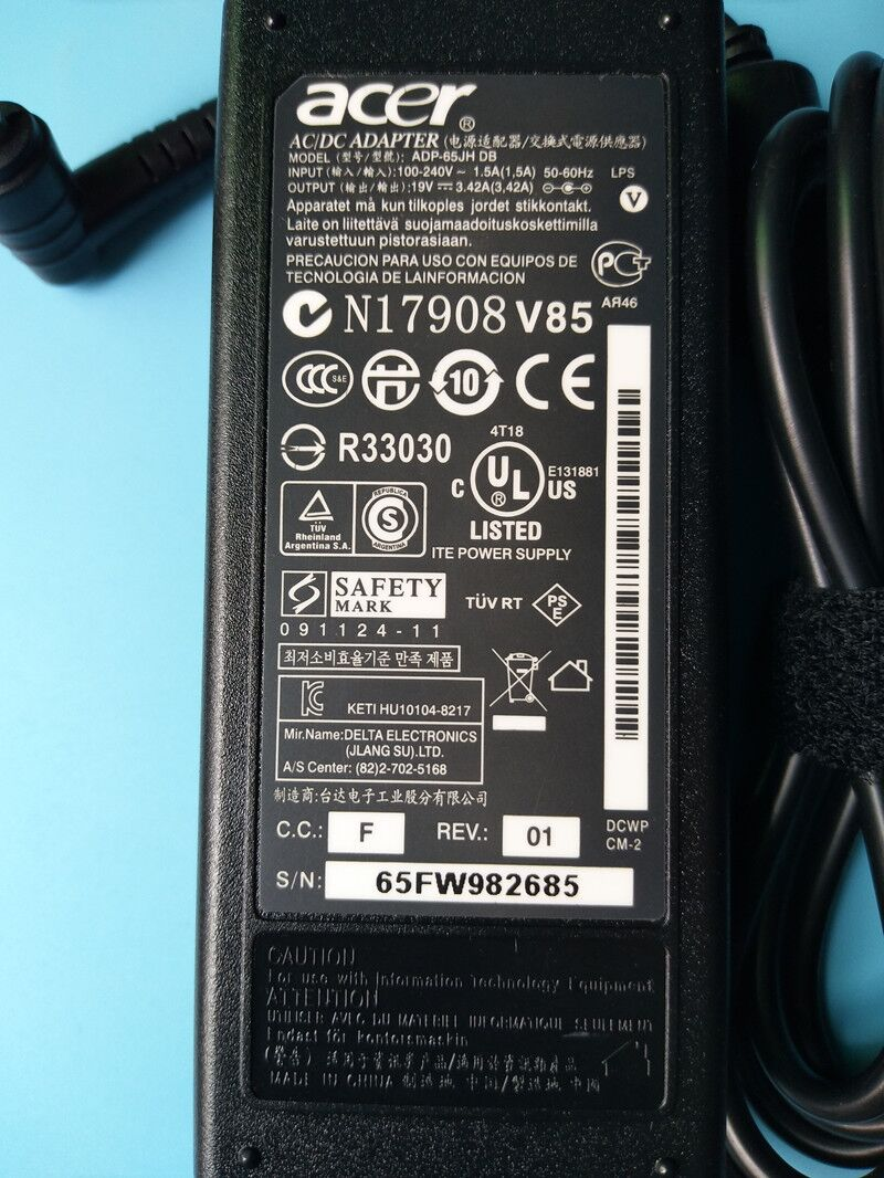 65W AC Adapter Charger for Acer Aspire V5 V3 E1 Series Laptop Power Supply Cord