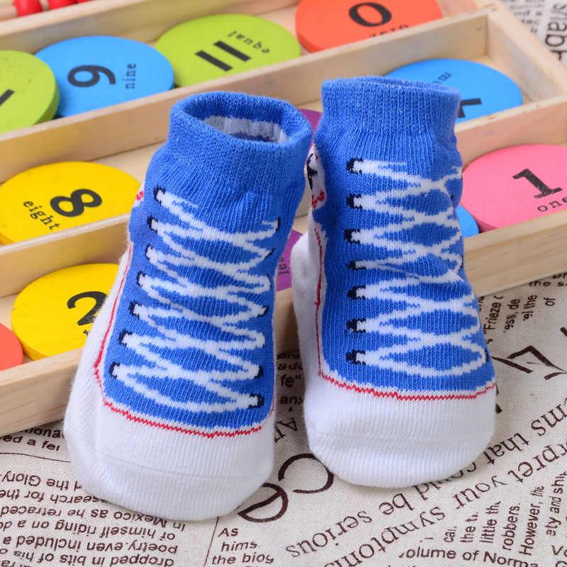 2 uds 100% de algodón de bebé de coche de calcetines antideslizante calcetines de dibujos animados pequeño chico calcetines para 0-1year niños y niñas