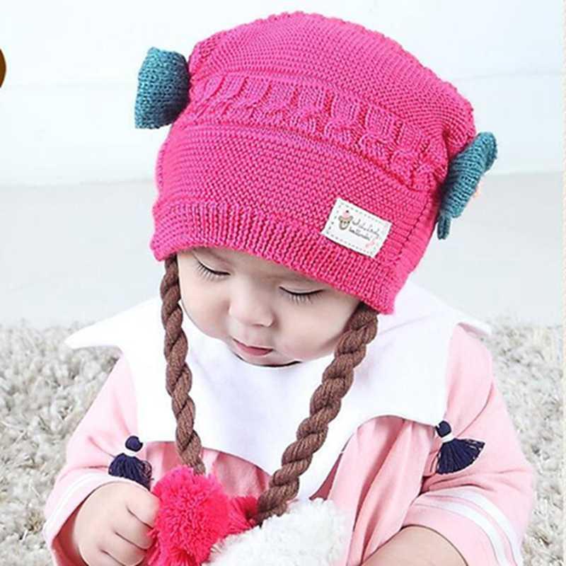 CYSINCOS อินเทรนด์น่ารักฤดูหนาว Braid หมวกทารกน่ารักเด็กวัยหัดเดินหมวกถักคู่ยาวถักหมวกขนสัตว์