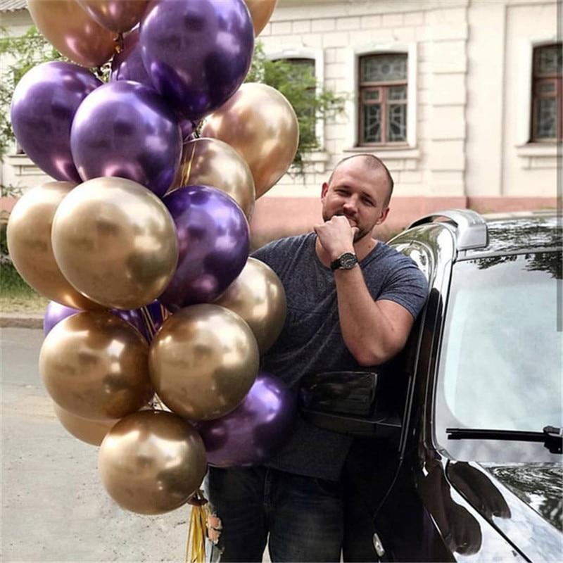 30Pcs Chrome Metal Latex Balloon Birthday Decoration Party Decorations Kids Globos Wedding Rose Gold Team Bride