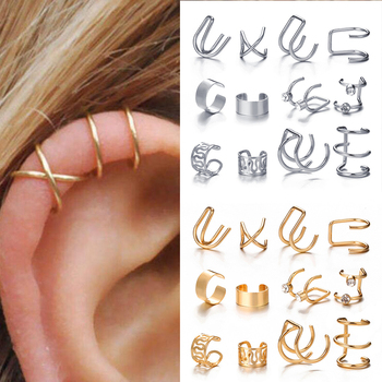 Modyle Fashion Gold Color Ear Cuffs Leaf Clip Earrings for Women Climbers No Piercing Fake Cartilage Earring Accessories Gift 1