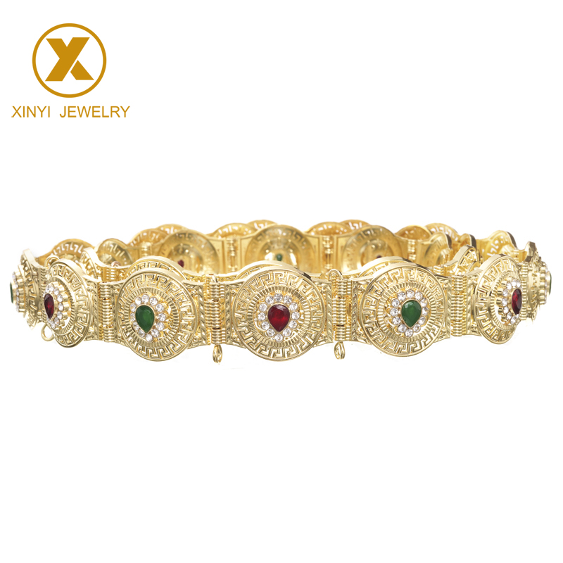 Free Shipping Consignment Of Popular Moroccan Kaftan Wedding Gold Rhinestone Metal Belt For Women
