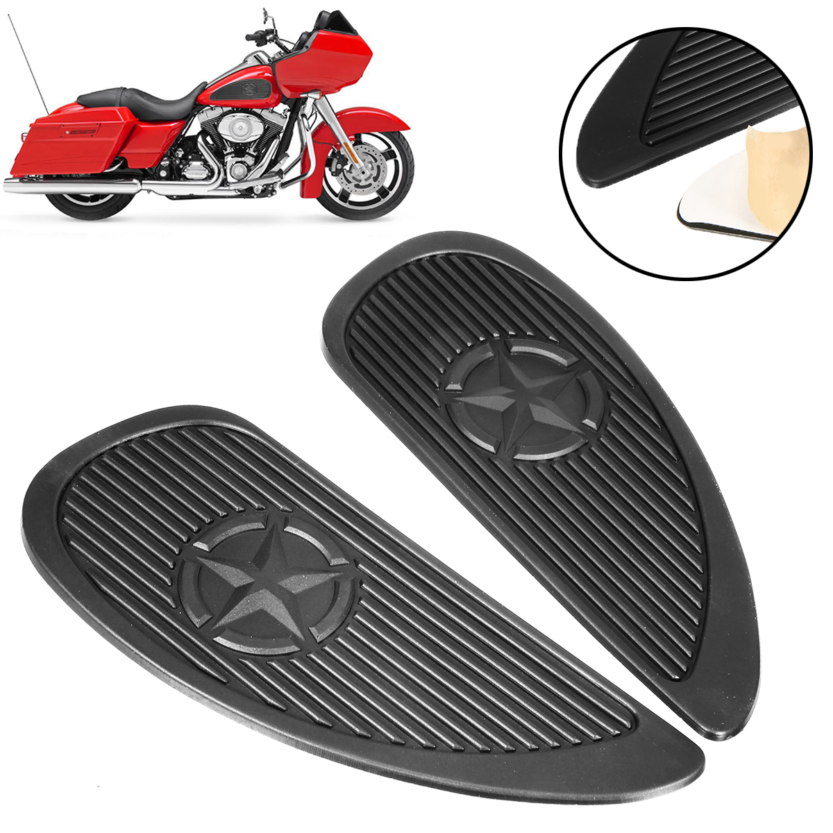 For Kawasaki For Yamaha 2pcs Motorcycle Anti Slip Tank Pad 3M Side Gas Knee Grip Traction Pads Protector Sticker Mayitr