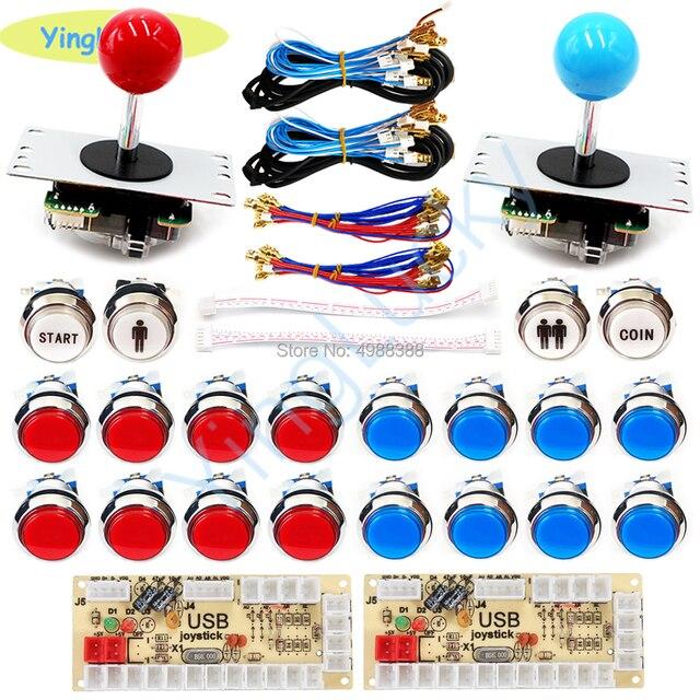 Arcade joysticks 2 Players DIY Kit Zero Delay USB Encoder sanwa Joystick 33mm LED Button PC Mame Raspberry pi 1 2