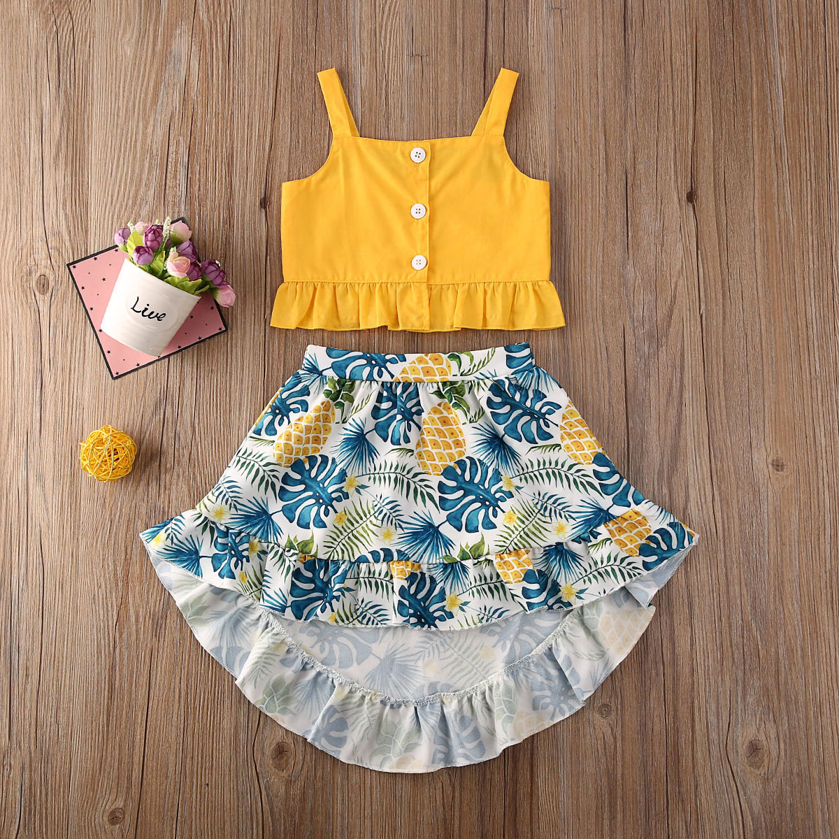 Pudcoco Toddler Baby Girl Clothes Solid Color Sleeveless Strap Crop Tops Beach Print Skirt 2Pcs Outfits Clothes