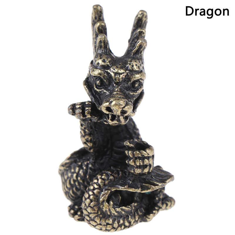 Мини латунь Китайский Зодиак статуя животного украшения орнаментальная скульптура ладан держатель домашний декор офисного стола забавная игрушка в подарок
