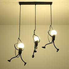 GloryStar Retro Style Iron Art Person Shape LED Ceiling Lamp for Coffee Bar Restaurant Clothing Store Showcase