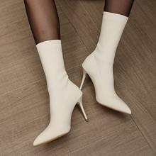 Wysokie buty na obcasie szpiczasty nosek botki damskie elastyczne skarpetki buty damskie jesienne buty zimowe wysokie obcasy buty Botas Mujer