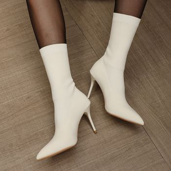 High Heels Boots Pointed Toe Ankle Boots Women Stretch Socks Boots Female Autumn Winter Boots High Heels Shoes Botas Mujer kulada boots women double zippers ankle boots women suede leather boots women high heels thick soles basic botas mujer