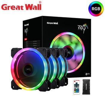 Gran Pared RGB ventilador de refrigeración de PC disipador de calor silencioso de 120mm para la caja de la computadora ventilador de refrigeración para PC RF RC 16 ajustable LED CPU ventilador de refrigeración