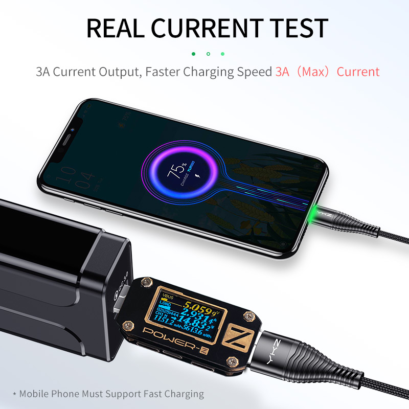 YKZ 3A LED Micro USB Cable Fast Charging Microusb Charger Date Cable Wire For Samsung Huawei Xiaomi Cord Android Mobile Phone Mobile Phone Accessories Mobile Phone Cables Smartphones