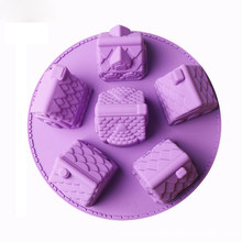 6 Holes Gingerbread Chocolate Houses Silicone Cookies Baking 3D Christmas Bakeware Cake Mold Decorating Tool Random Color(China)