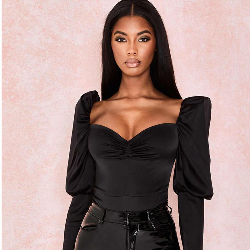 Kobiety czarna porządna Slim body na co dzień kobiet 2020 wiosna długi, rozszerzony rękaw satyna elegancki Romper Streetwear Bodycon Playsuit