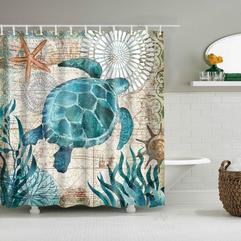 Bath Curtain Sea Turtle Waterproof Shower Curtain Octopus Bathroom Curtains with 12 Hooks 3D Blackout Curtain for Bathroom