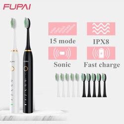 Moda fp sonic escova de dentes elétrica usb recarregável ultra sônico à prova dipágua ipx8 lavável escova de dentes automática 10 cabeças
