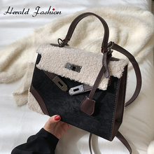 Brand Suede Leather Women Handbag Fashion Faux Fur Patchwork Female Shoulder
