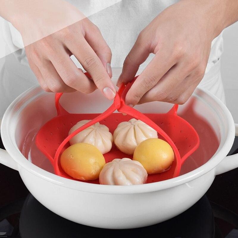 Food Kitchen Tool Vegetable Folding Durable Steamer Basket Dishwasher Safe Multifunction Silicone Cooker Heat-Resistant