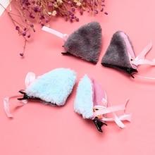 1 пара волос кошачьи уши заколки для волос женские кошачьи уши с колокольчиком заколки для волос Косплей вечерние Лисий длинный меховой костюм заколка для волос подарок на Хэллоуин