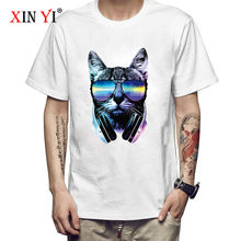 XIN YI męska koszulka najwyższej jakości 100% bawełna DJ nadruk z kotem dorywczo luźna o-neck mężczyźni tshirt z krótkim rękawem T-shirt męskie koszulki