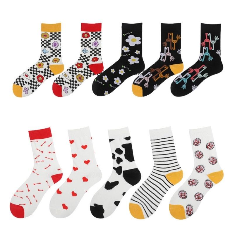 Snack Pattern Harajuku Funny Socks Colorful Novelty Skateboard Socks Women Funny Combed Cotton Dress Casual Wedding Socks