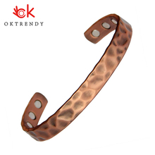 Oktrendy 3000 Gauss Mens Healing Energy Magnetic Copper Bangle Adjustable Cuff Bracelets & Bangles For Arthritis Pain Relief