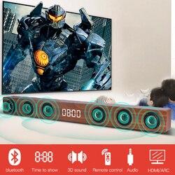 Home Theatre Soundbar TV HDMI Wireless Wooden Bluetooth Speakers with RCA Stereo Sound Box Remote Control Alarm Clock Display