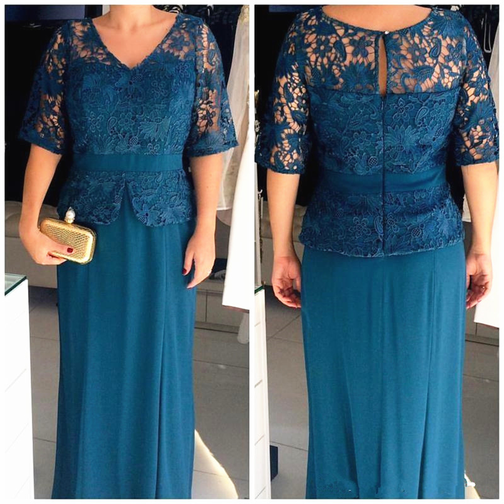 Turquoise Lace Chiffon Mother Of The Bride Dresses Wedding Party Half Sleeve Floor Length Column Formal Evening Gowns
