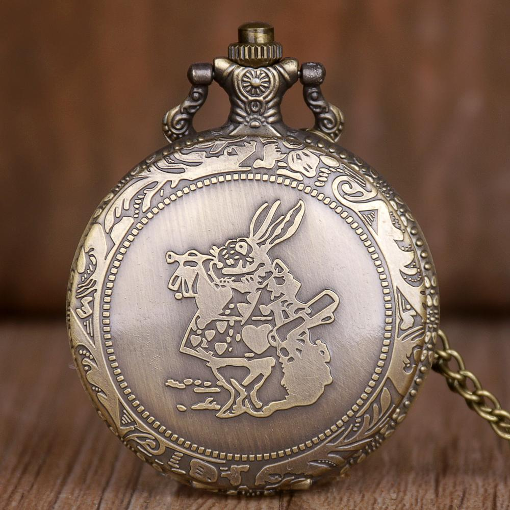 Lovely Rabbit Pocket Watches Women Children Pendant With Necklace Chain Watches Gift For Girls TD2108