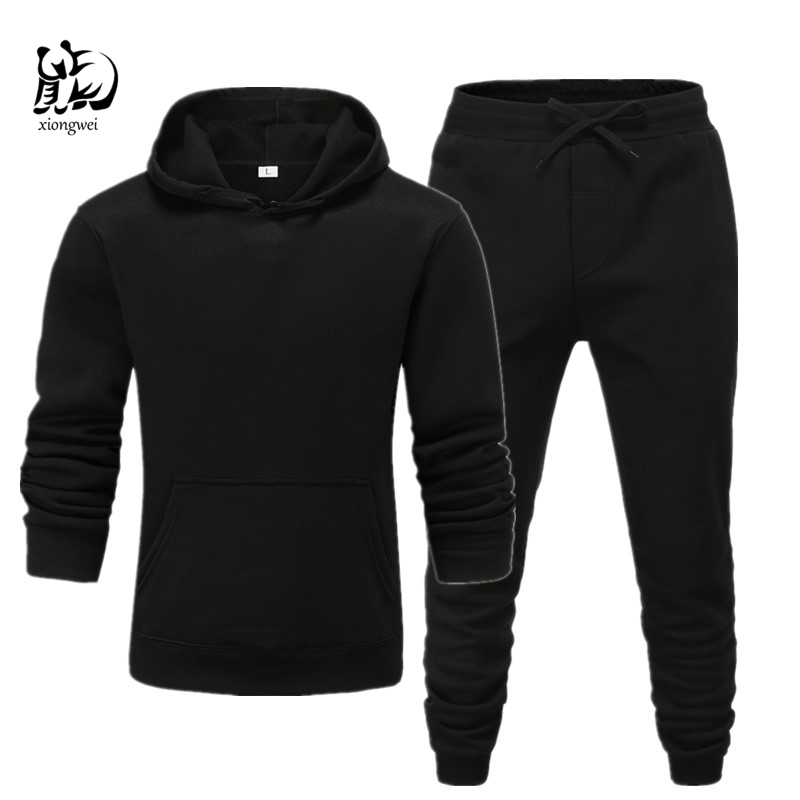 Winter Solid Hoodie Suit New Men's Casual Tracksuits Mens Hip Hop Coat Pullover Sweatshirt Men Hoodiessuit Black Gray  Trousers