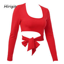 Sexy Solide Lace Up Blusen langarm Crop Tops Für Frauen Grundlegende Hemd 2020 Frühling Koreanische Langarm Elegante Damen shirts(China)