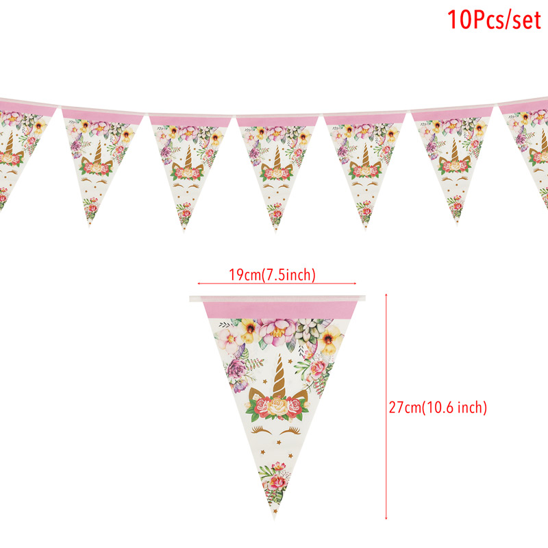 Image 4 - 1set Rainbow Unicorn Banners Unicorn Party Hanging Flags Kids Birthday Party Decorations Bunting Garland Baby Shower Supplies-in Banners, Streamers & Confetti from Home & Garden