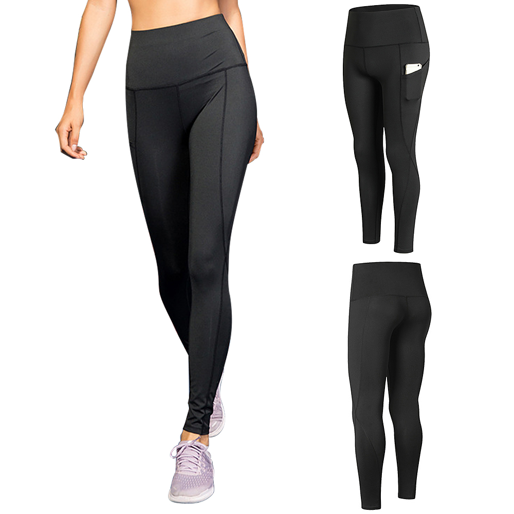 Woman High Waist Yoga Pants Quick-dry Sports Pants Yoga Leggings Workout Pants with Pocket Light Blue XXL Running pants 11