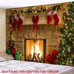 Фон для фотографирования с изображением рождественских стены рождественские подарки каминный гобелен елка красный носки гобелен номер Сп...