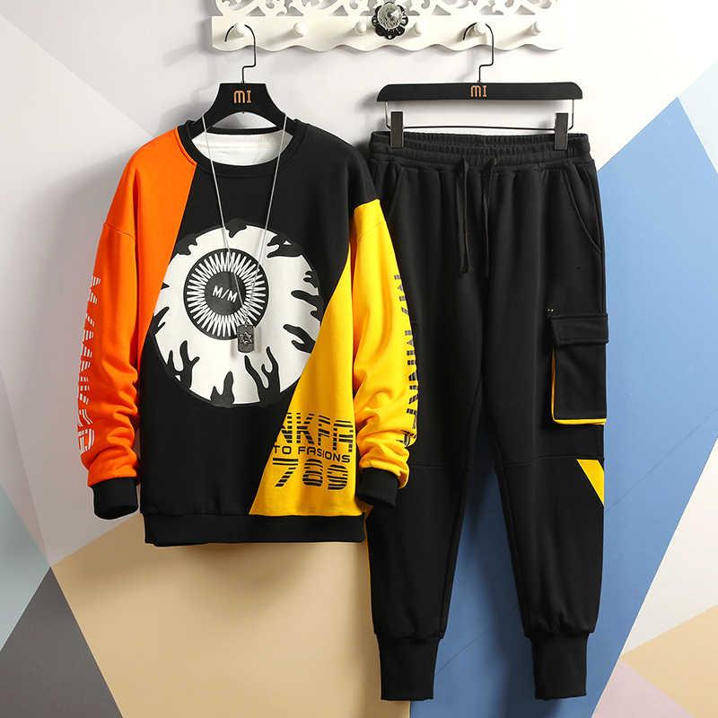 Retalhos conjuntos de roupas esportivas masculinas 2019 outono inverno hoodies masculino casual agasalho + moletom