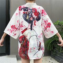 2020 nova Harajuku Cardigan Quimono Japonês Moda Ásia Verão Preto Branco Solto Meninas Blusa Tops Casuais Mulher Kimonos Cosplay