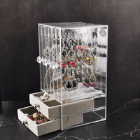 acrylic Jewelry Display Holds Up storage box Hanging Earrings Ear Stud Holder Transparent Organizer Earring Showcase Stand Box