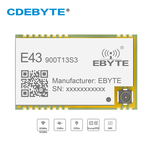 E43 900T13S3 UART 868mhz 915 MHz 20mW IPX Stamp Hole Antenna IoT uhf SMD Wireless Transceiver Transmitter and Receiver RF Module
