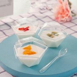 Wysokiej jakości kreatywne przezroczyste jednorazowe pudding kubki 100ml party urodziny favor lody galaretki jogurt z tworzywa sztucznego kubek z pokrywką